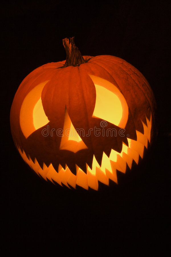 Glowing jack-o'-lantern. stock image