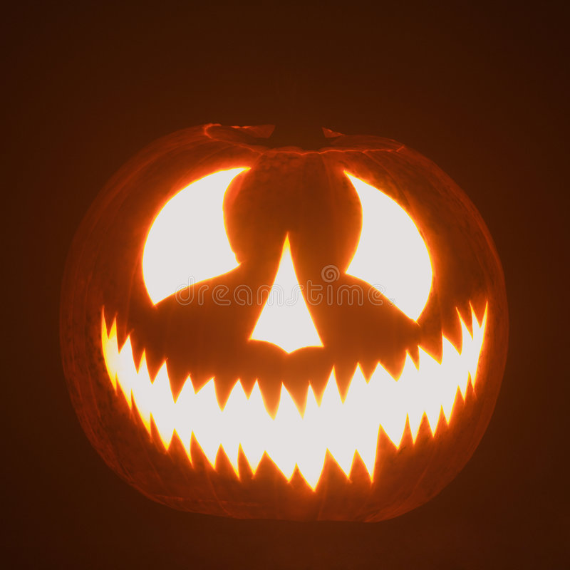Glowing jack-o'-lantern. royalty free stock photo