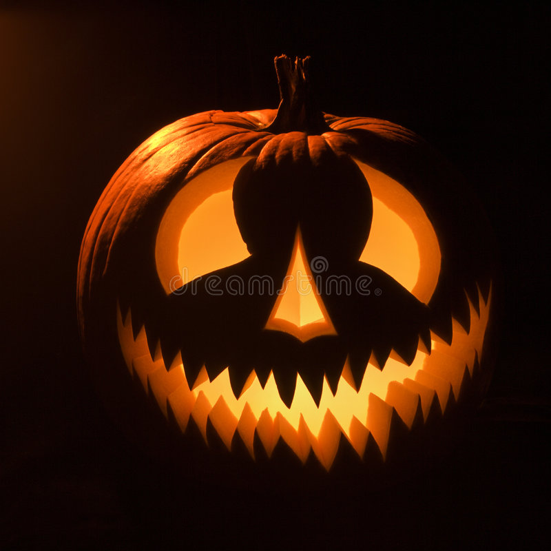 Glowing jack-o'-lantern. royalty free stock photography