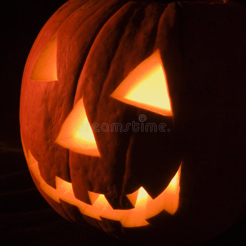 Glowing jack-o'-lantern. royalty free stock images