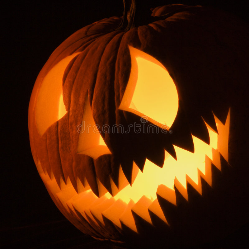 Glowing jack-o'-lantern. stock images