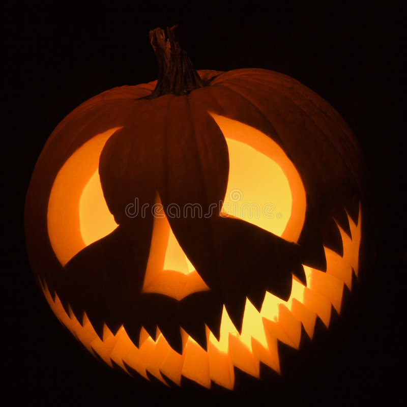 Glowing jack-o'-lantern. royalty free stock image