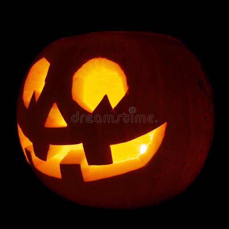 Glowing Jack-o'-lantern pumpkin isolated stock photography