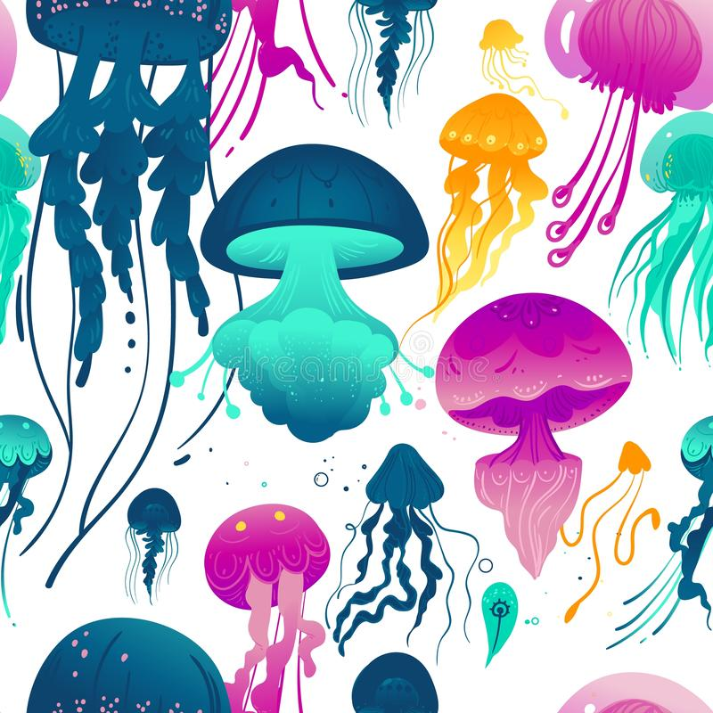 Glowing jellyfish seamless pattern - colorful sea creatures vector illustration