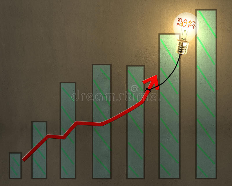 Glowing lamp balloon with 2014 inside hanging growth red arrow f vector illustration