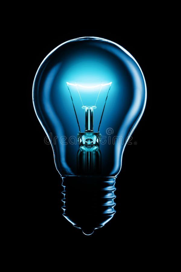 Download Glowing lamp on black stock photo. Image of background - 9946508