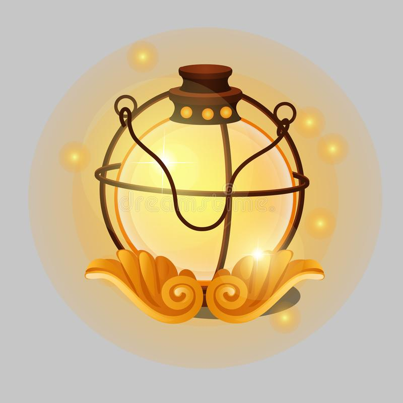 Glowing lamp in vintage religious style with patterns in the form of angel wings isolated on grey background. Vector vector illustration