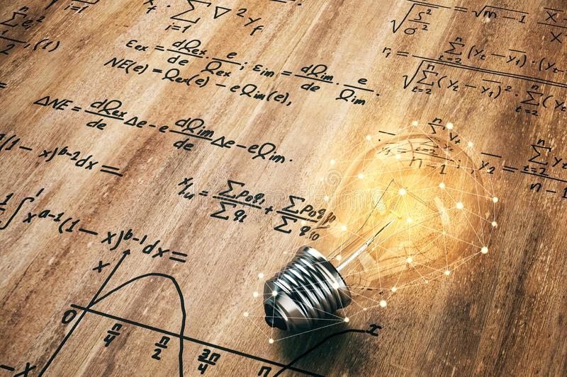 Idea and algorithm concept. Glowing lamp on wooden background with mathematical formulas. Idea and algorithm concept. 3D Rendering vector illustration