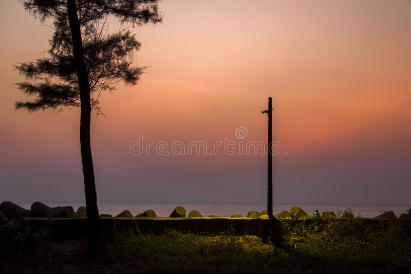 A glowing lamppost and black tree silhouette against the background of the sea and purple pink sunset sky royalty free stock image