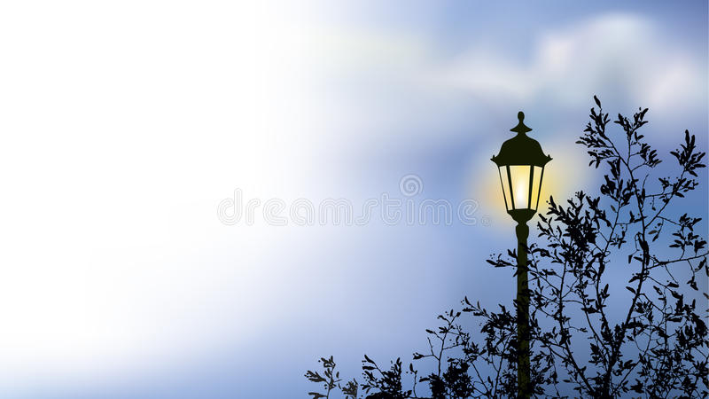 Download Glowing Lantern Near The Branches Of Spring Tree Stock Vector - Image: 20505878