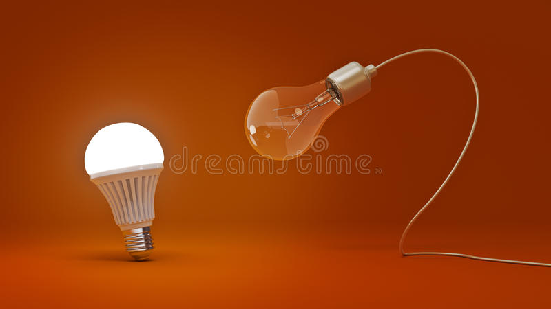 Glowing LED bulb and simple light bulbs. royalty free illustration