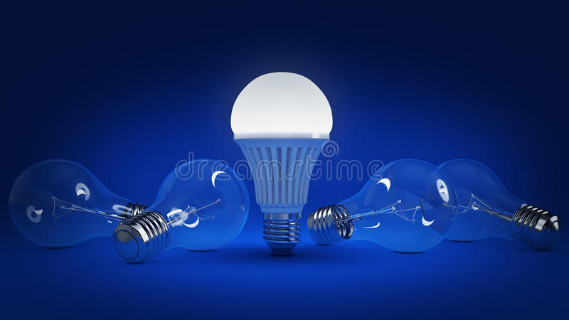 Glowing LED bulb and simple light bulbs. 3d rendering stock illustration
