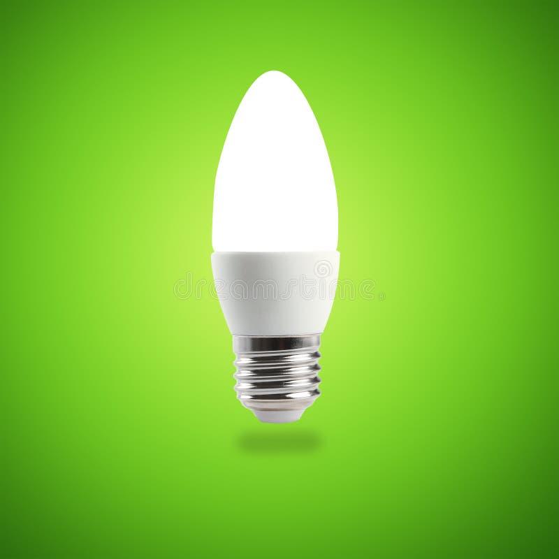 Glowing LED energy saving bulb. stock photo