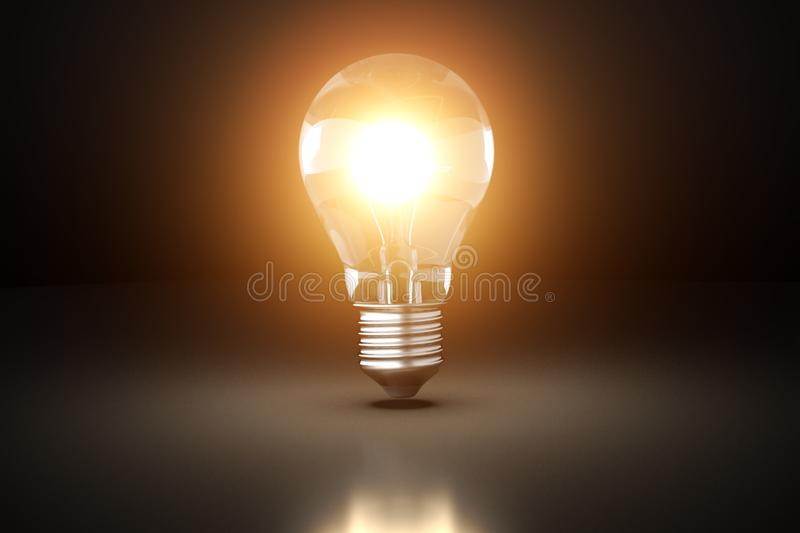 Glowing light bulb. Idea concept. 3D rendered illustration vector illustration