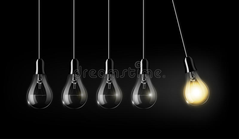 Glowing light bulb is among a lot of turned off light bulbs on dark blue background , concept idea, perpetual Motion concept, an a stock illustration