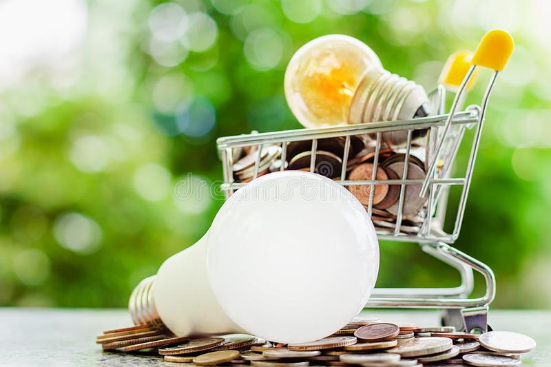 Glowing light bulb in mini shopping cart or trolley with money c royalty free stock photo