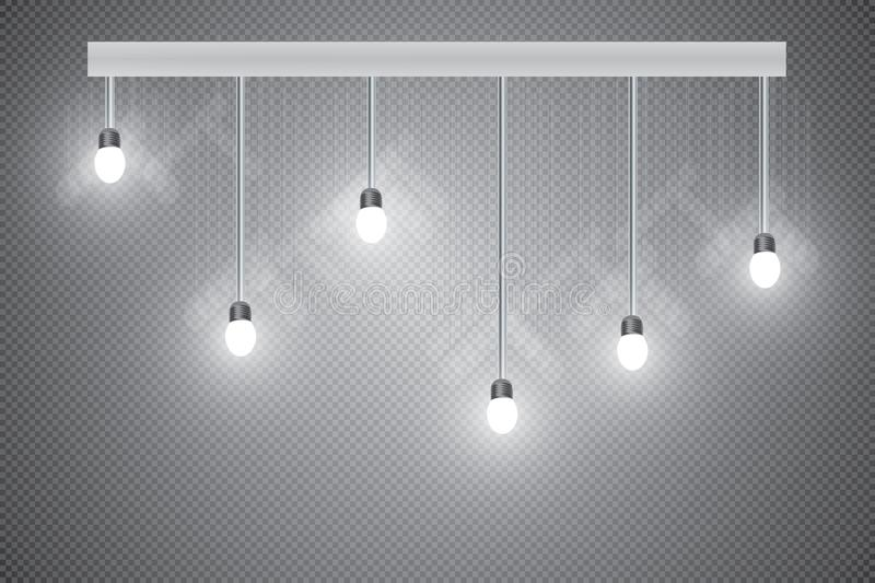 Glowing light bulb. Realistic glowing light bulb icon set with a pendant down from the ceiling vector illustration. Lamps hanging from the ceiling on a royalty free illustration