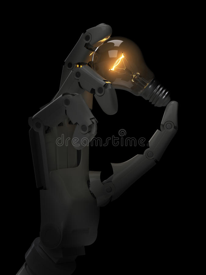 Glowing light bulb in robot hand stock photos