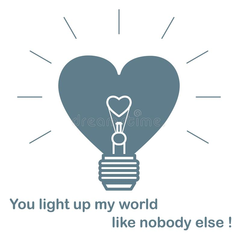 Glowing light bulb in the shape of a heart and the inscription. Design for banner, poster or print. Greeting card Valentine`s Day vector illustration