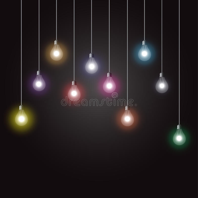 Glowing light bulbs royalty free illustration