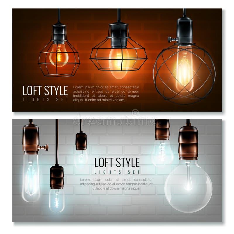 Glowing Light Bulbs Horizontal Banner Set vector illustration