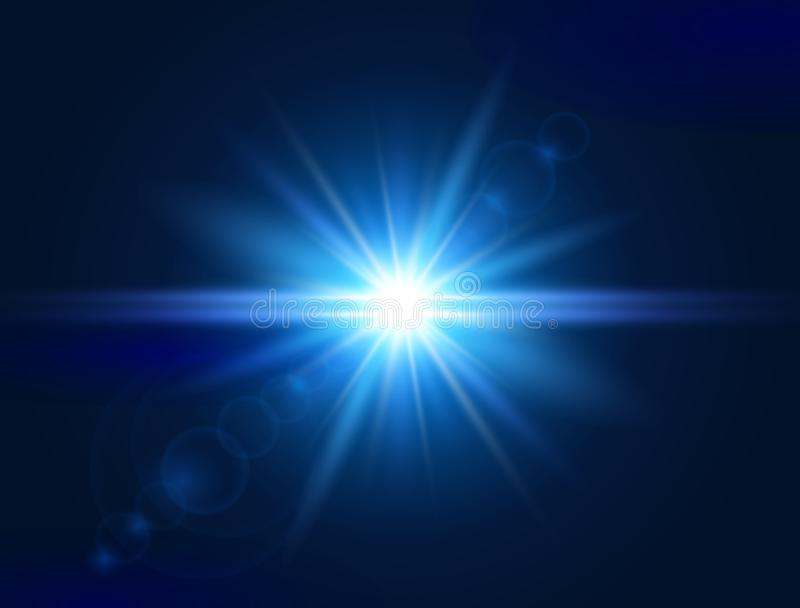 Glowing light effect. Blue lens flare. Glare light. Explosion star. Flash with rays and spotlight. Vector illustration.  vector illustration