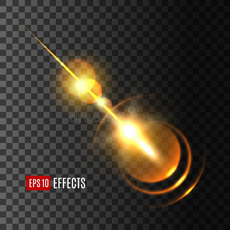 Glowing light effect with rays and lens flare. Glowing golden light effect of sun flash with rays and lens flare. Shine of star explosion with bright beam on royalty free illustration