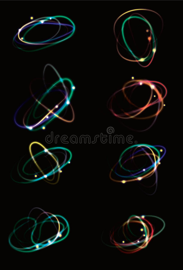Glowing light effect scribbles. Collection of abstract light effect glowing scribbles