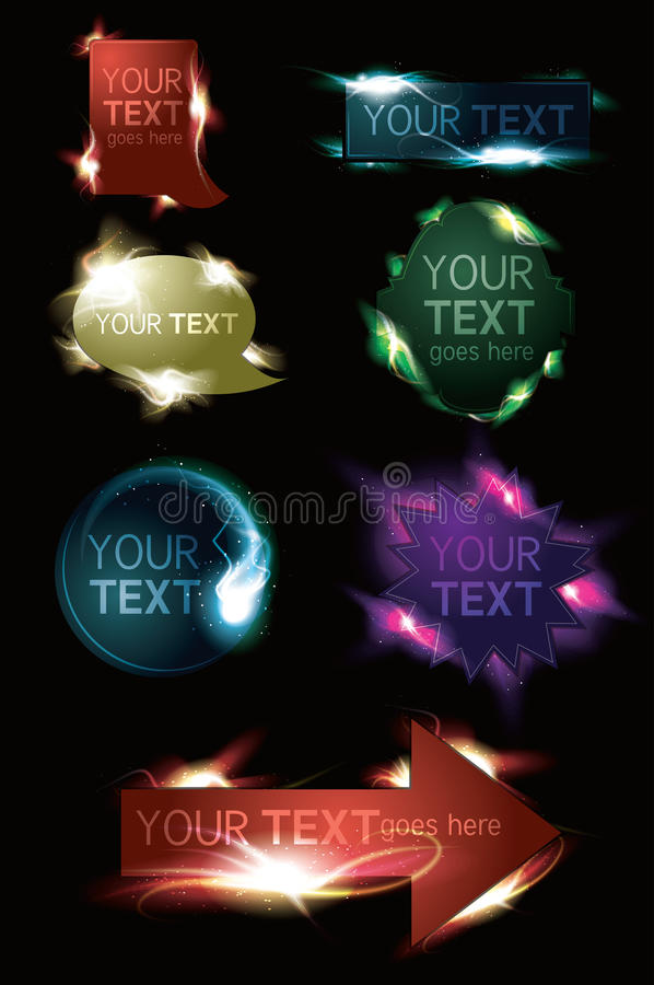 Free Glowing Light Effect Sparkling Web Buttons Stock Photos - 19951953
