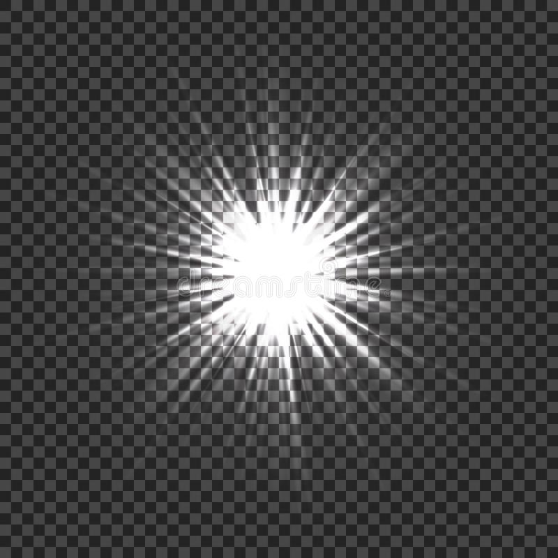 Glowing light effects with transparency. Light explosion with transparent background. Lens flares, rays, stars and royalty free illustration