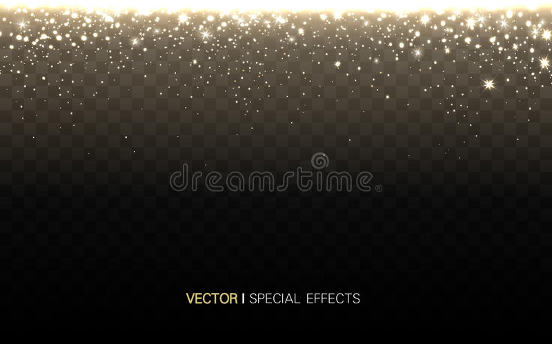 Glowing light elements. Golden glowing light elements on top, transparent background vector illustration