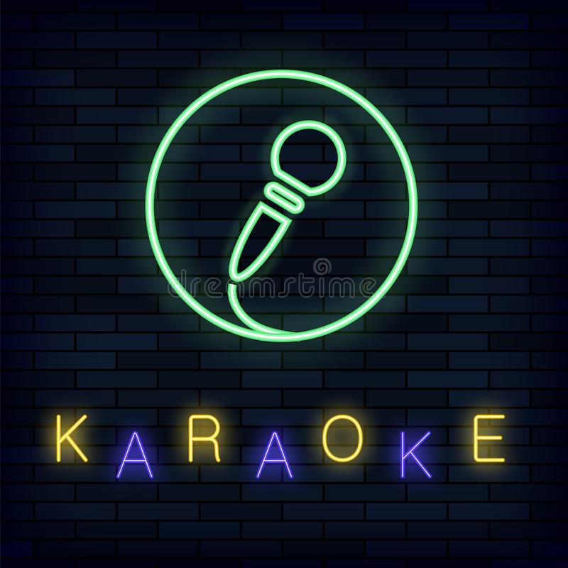 Glowing Light Karaoke on Brick Background. Musical Logo with Microphone. Colorful Line Icon. Sign Board of Music Bar vector illustration