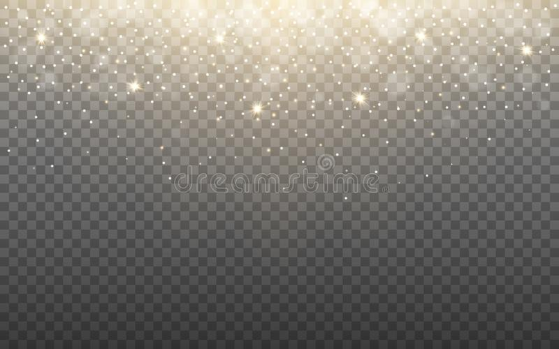 Glowing light and snow flakes on transparent background. Shining particles and bokeh. Gold glitter effect with rays royalty free illustration
