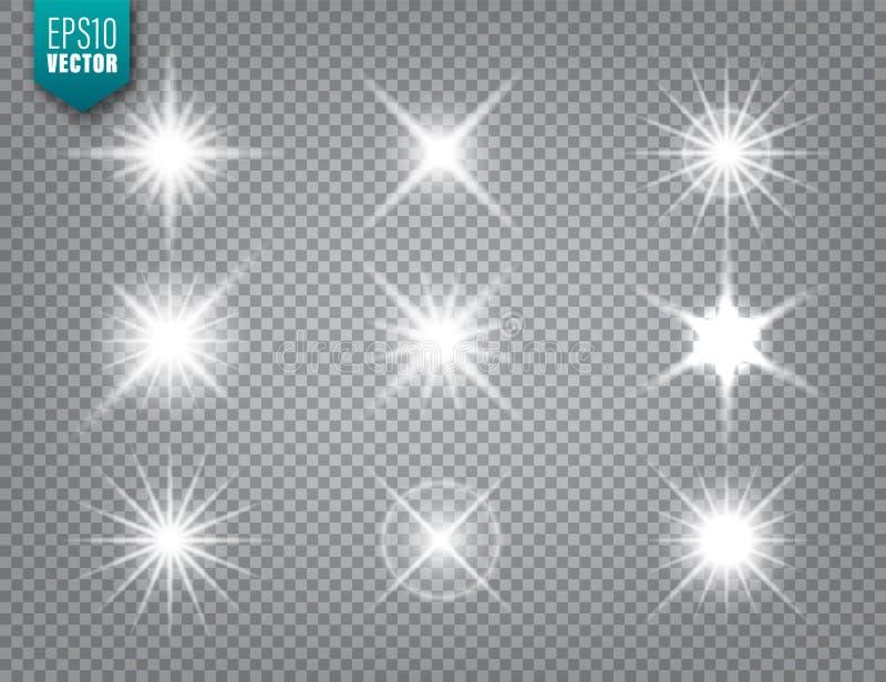 Glowing light on transparent background collection. Lens flare effect. Bright sparkling flash, sunlight. Vector. Illustration stock illustration