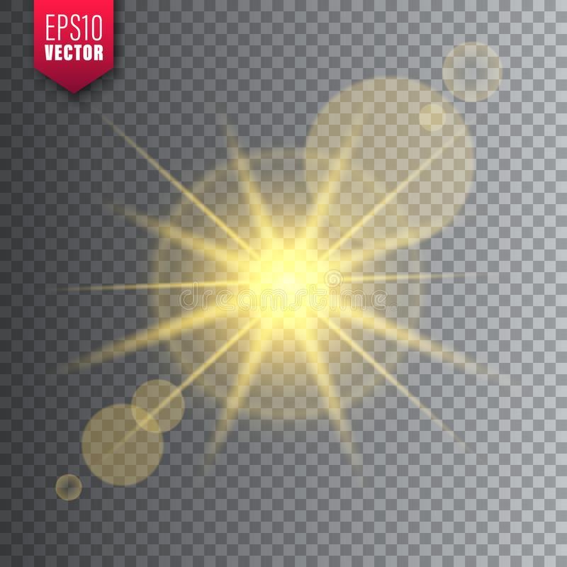 Glowing light on transparent background. Lens flare effect. Bright sparkling flash, sunlight. Vector illustration. Glowing light on transparent background. Lens royalty free illustration