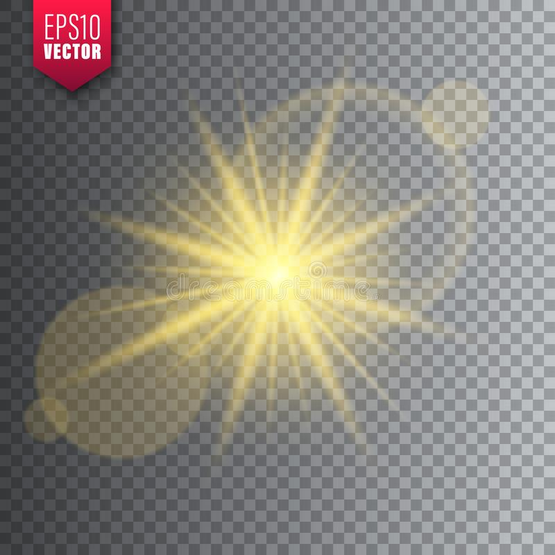 Glowing light on transparent background. Lens flare effect. Bright sparkling flash, sunlight. Vector illustration. Glowing light on transparent background. Lens stock illustration