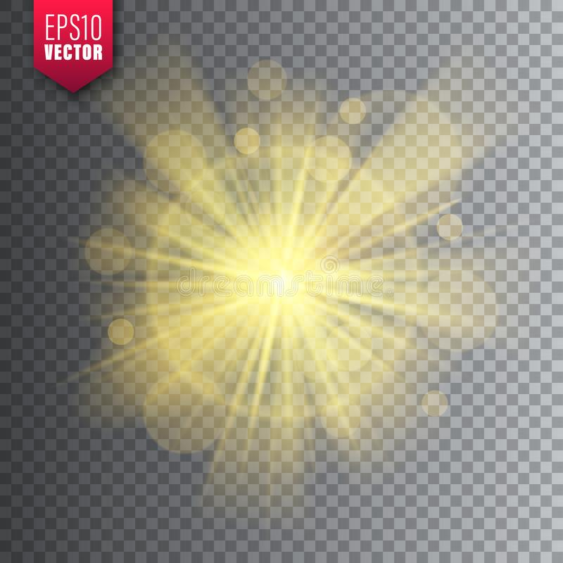 Glowing light on transparent background. Lens flare effect. Bright sparkling flash, sunlight. Vector illustration. Glowing light on transparent background. Lens vector illustration