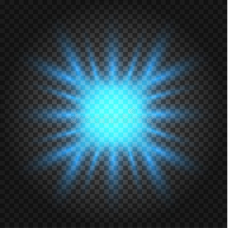 Glowing lights effect, flare, explosion and stars. Special effect isolated on transparent background royalty free illustration