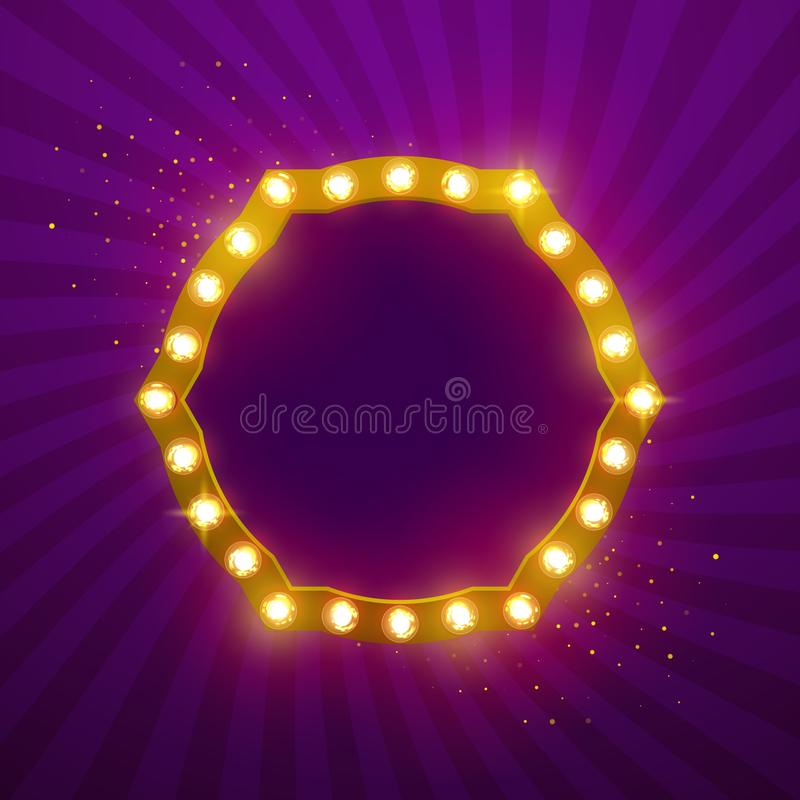 Glowing lights retro frame for advertising design. Special light effects. Vintage stage lights backdrop. Vector Background show. royalty free illustration