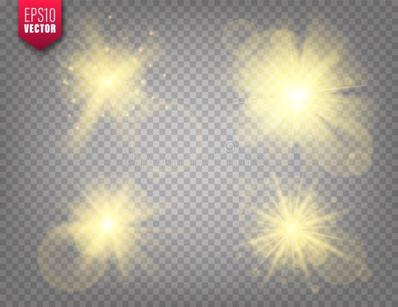 Glowing lights set on transparent background. Lens flare effect. Bright sparkling flash, sunlight. Vector illustration. Glowing lights set on transparent royalty free illustration