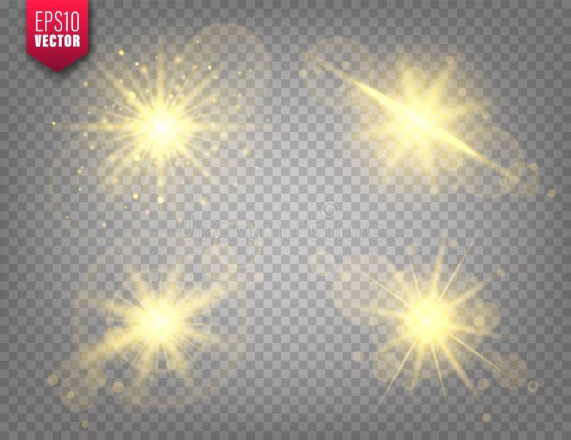 Glowing lights set on transparent background. Lens flare effect. Bright sparkling flash, sunlight. Vector illustration. Glowing lights set on transparent stock illustration