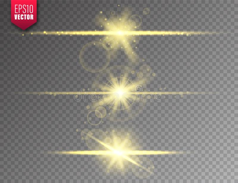 Glowing lights set on transparent background. Lens flare effect. Bright sparkling flash, sunlight. Vector illustration. Glowing lights set on transparent vector illustration