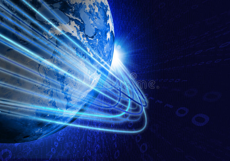 Glowing lines and Earth. Hi-tech background royalty free stock photo
