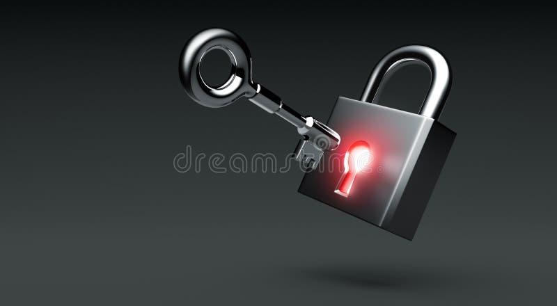 Glowing lock with key on dark background royalty free illustration