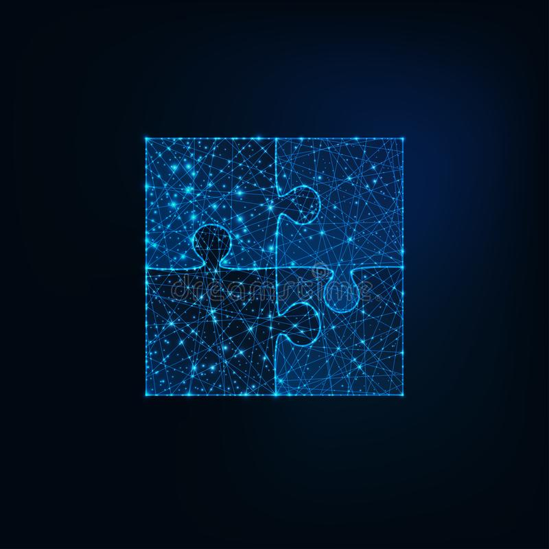 Glowing low polygonal jigsaw puzzle icon of four pieces on dark blue background. stock illustration