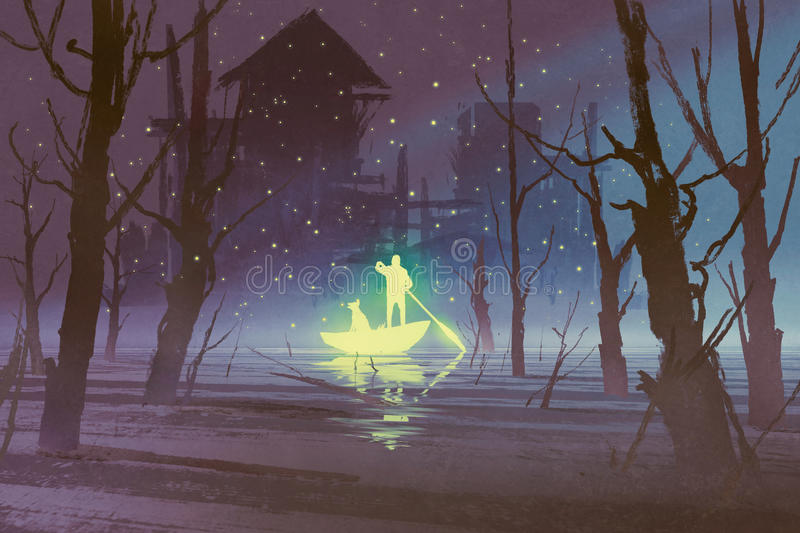 Glowing man and dog rowing boat in river vector illustration