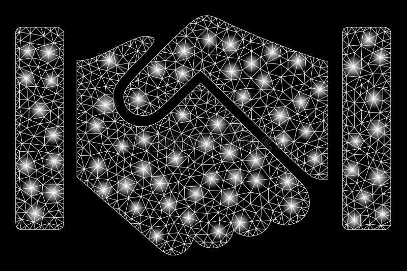 Glowing Mesh Network Relation Handshake with Flash Spots. Glossy mesh relation handshake with glare effect. Abstract illuminated model of relation handshake icon stock illustration