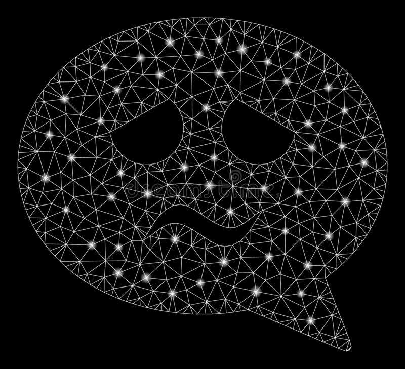 Glowing Mesh Network Sadness Smiley Message with Flash Spots vector illustration