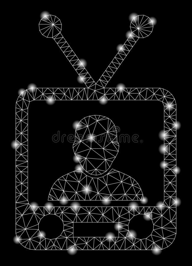 Glowing Mesh Wire Frame TV News with Light Spots. Glowing mesh TV news with glow effect. Abstract illuminated model of TV news icon. Shiny wire carcass polygonal stock illustration
