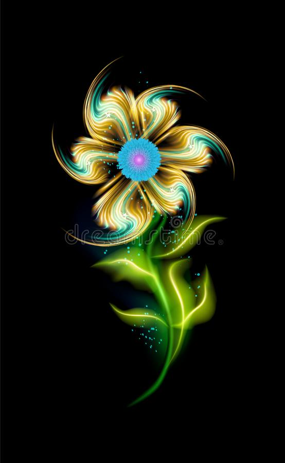 Glowing modern yellow flower vector pattern. Colorful ornamental element floral in black background. Beautiful trendy ornaments vector illustration